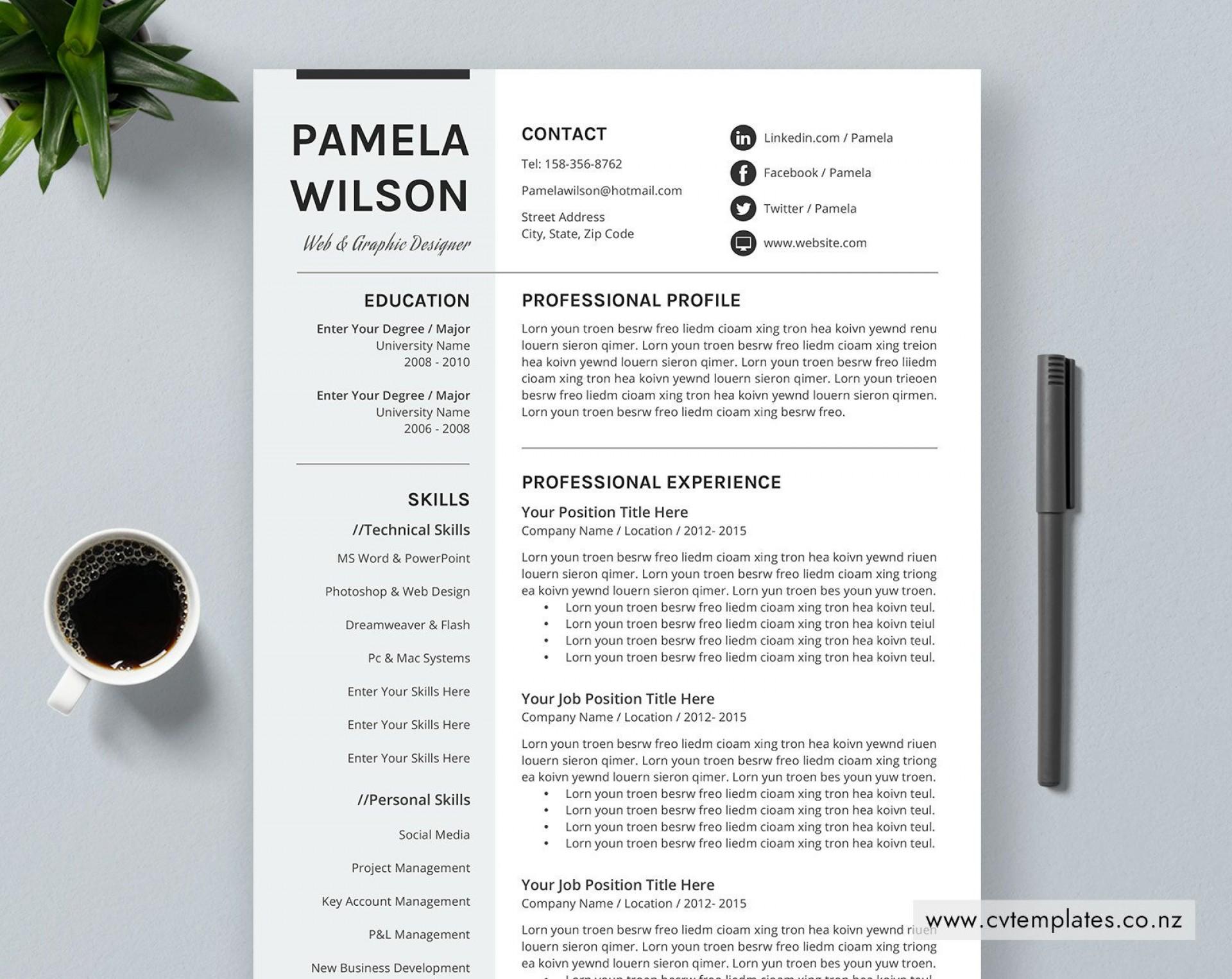 013 Stunning Curriculum Vitae Template Free Word Design  Sample Format Microsoft Cv Download1920