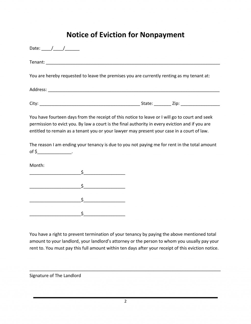 014 Rare 30 Day Eviction Notice Template Concept  Pdf FormLarge