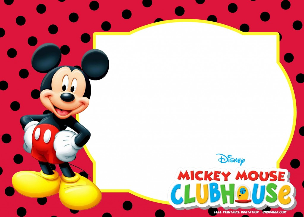 014 Stirring Mickey Mouse Invitation Template Idea  Free Diy 1st Birthday Baby DownloadLarge