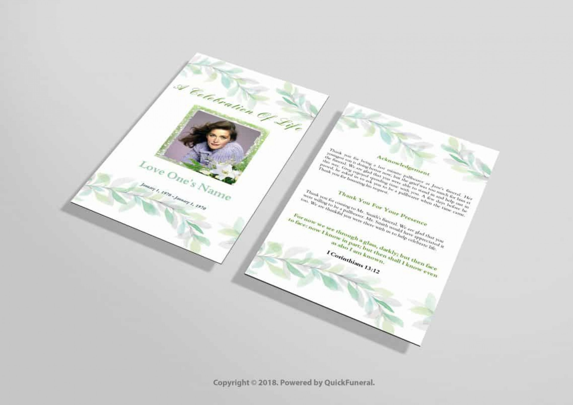 016 Incredible Funeral Invitation Template Free Inspiration  Memorial Service Card Reception1920