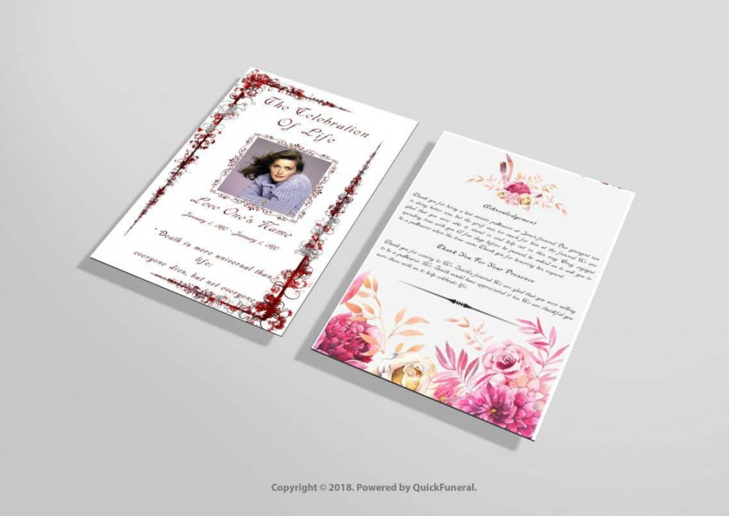 017 Remarkable Funeral Invitation Template Free Sample  Memorial Service Card ReceptionLarge