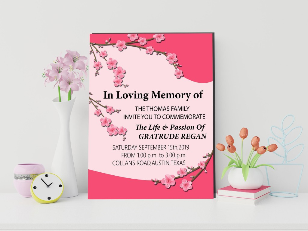 018 Remarkable Funeral Invitation Template Free Inspiration  Memorial Service Card ReceptionLarge