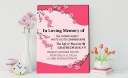 018 Remarkable Funeral Invitation Template Free Inspiration  Memorial Service Card Reception