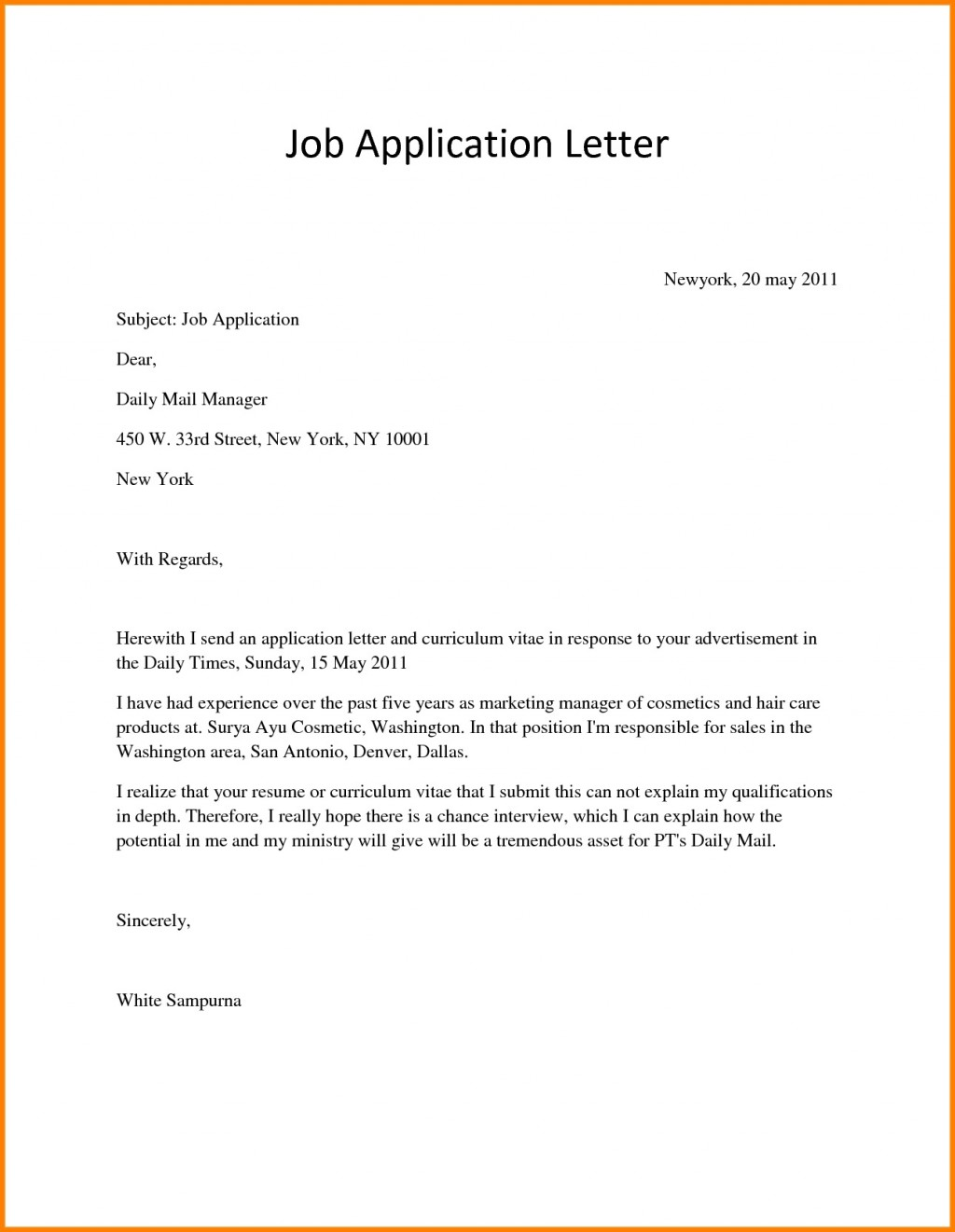 Application For Employment Template Job Letter  Free Sample PdfLarge