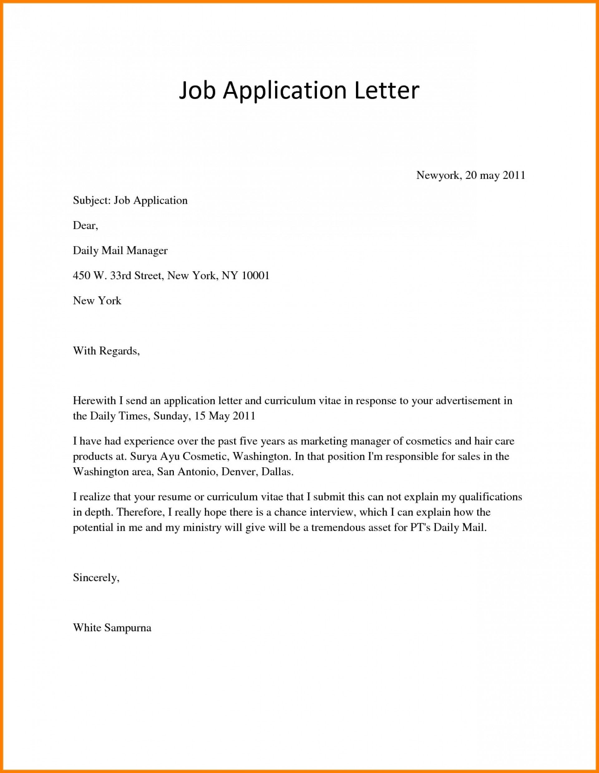 Application For Employment Template Job Letter  Free Sample Pdf1920