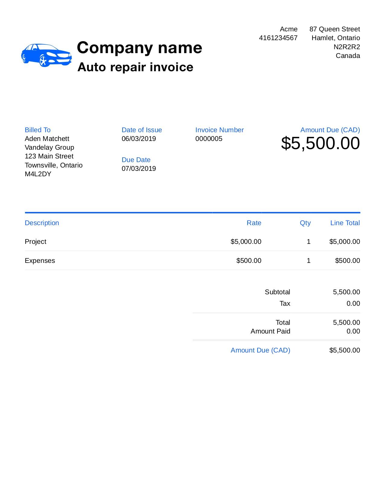 Auto Repair Invoice Templates Addictionary
