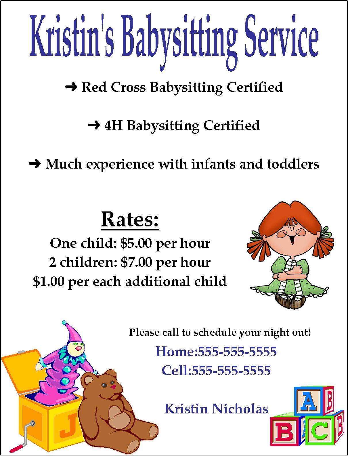 Certified Free Babysitting Flyer Template  Printable Download Microsoft WordFull