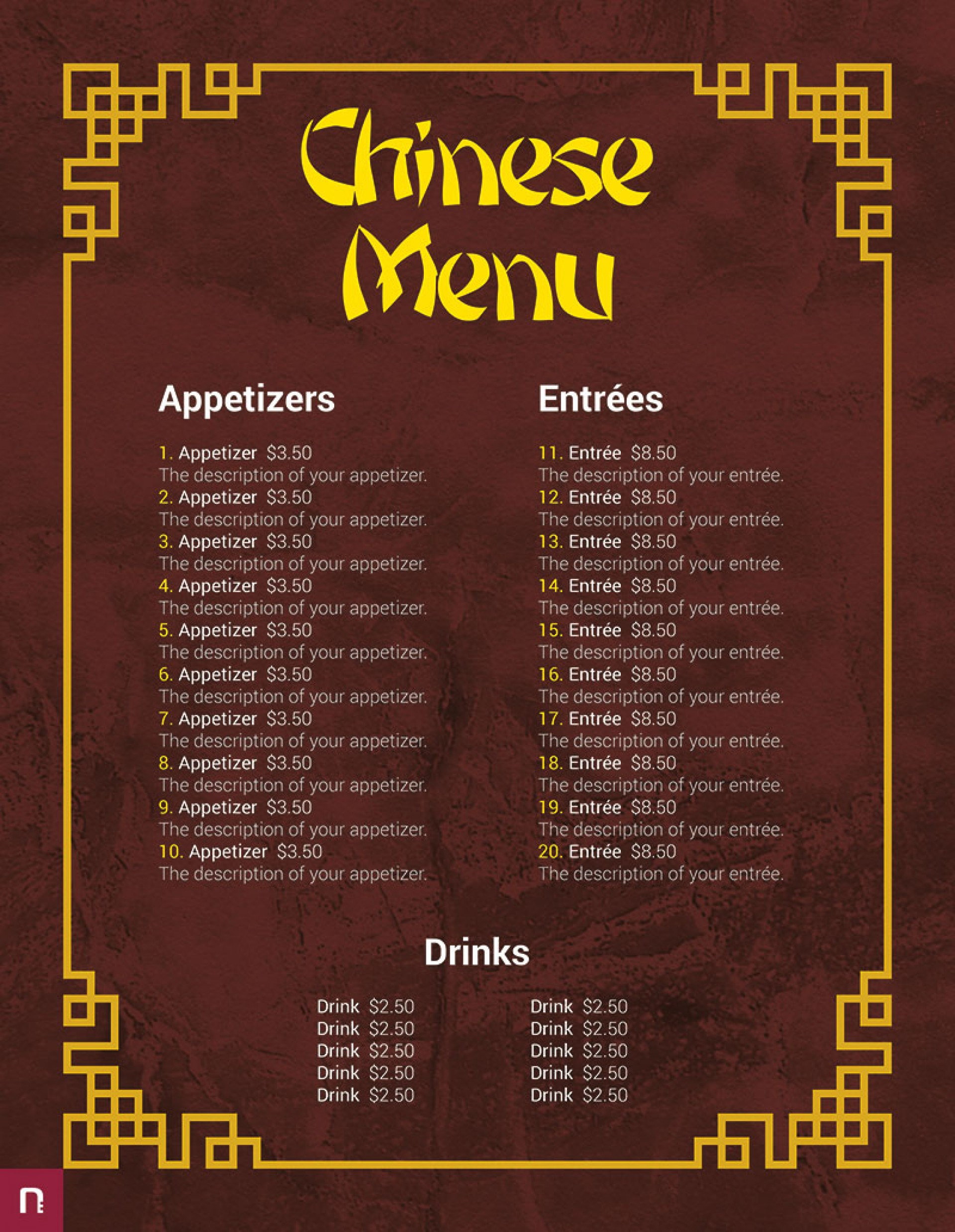 Chinese Menu Template Free Download  Restaurant Psd Word Html1920