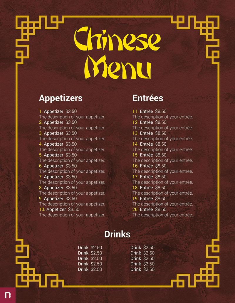 Chinese Menu Template Free Download  Restaurant Psd Word HtmlFull