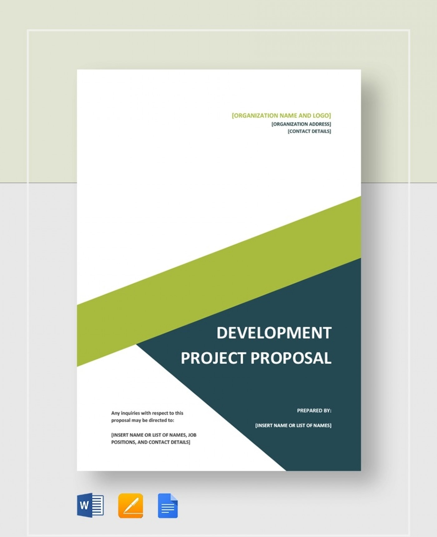 Development Project Proposal Template  Web Design & Powerpoint Sample1400