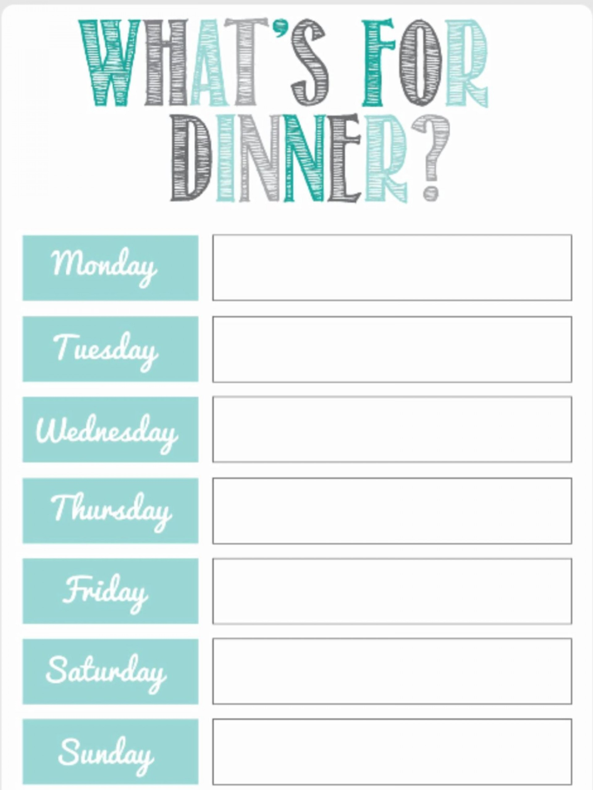 Dinner Free Meal Plan Template  Worksheet Planner For Weight Los Excel1920
