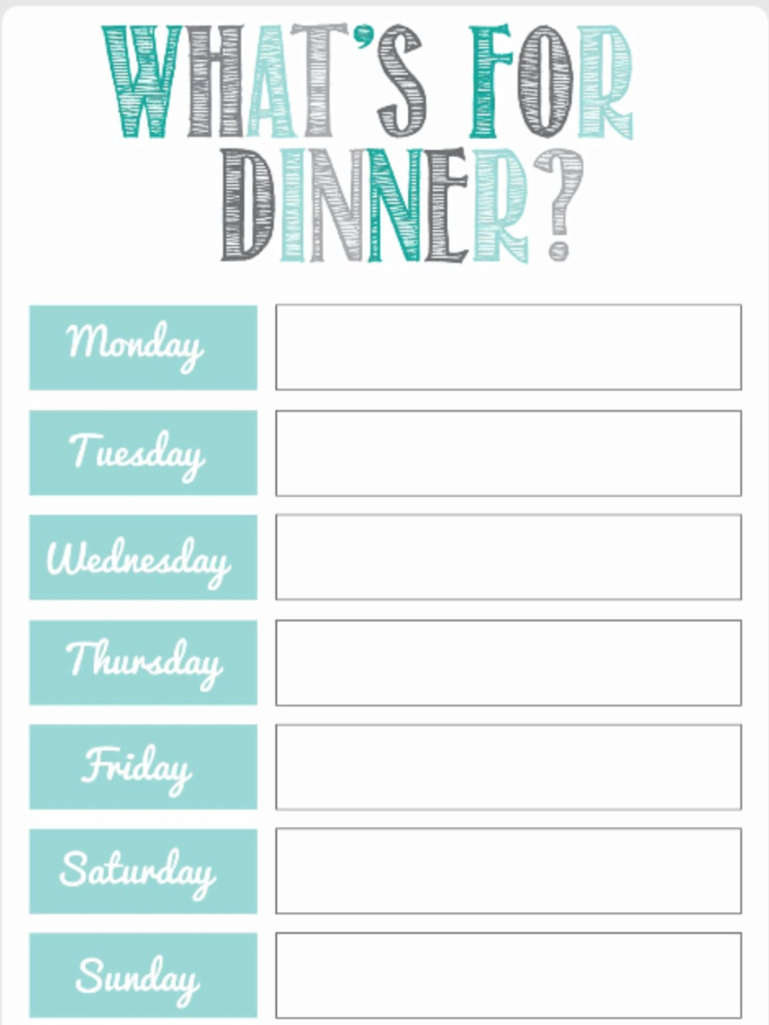 Dinner Free Meal Plan Template  Worksheet Planner For Weight Los ExcelFull
