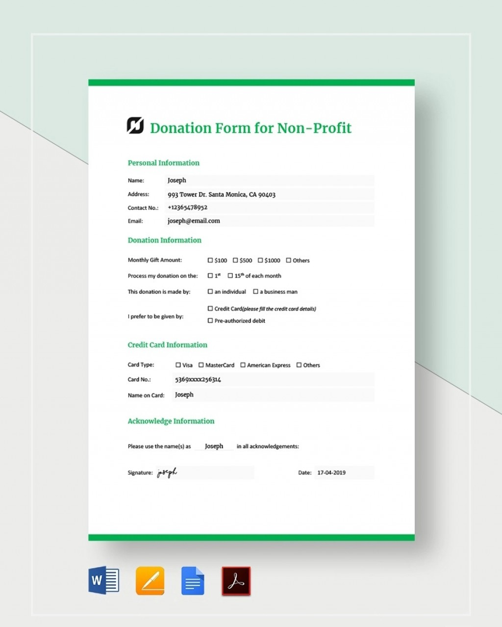 Donation Form Template For Non Profit Sample  Letter Nonprofit Asking CharitableLarge