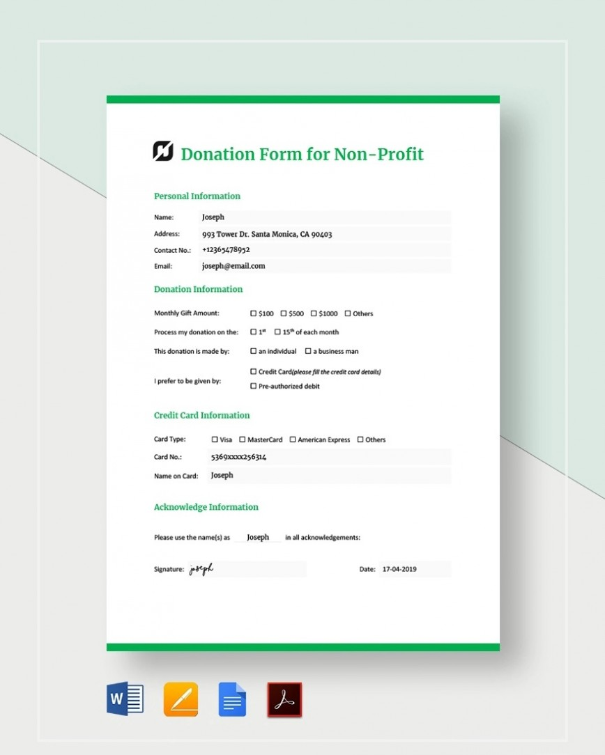 Donation Form Template For Non Profit Sample  Letter Nonprofit Asking Charitable868