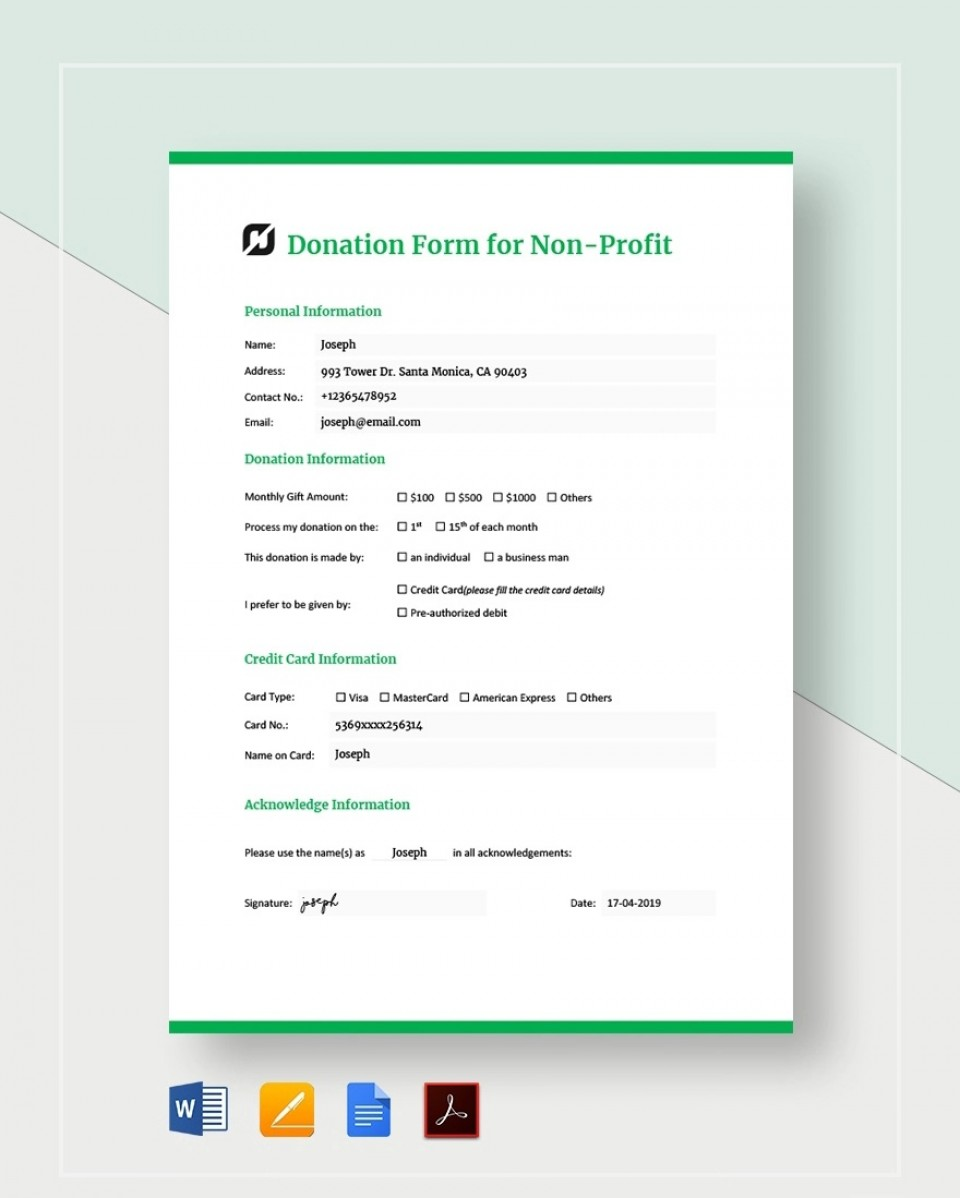 Donation Form Template For Non Profit Sample  Letter Nonprofit Asking Charitable960