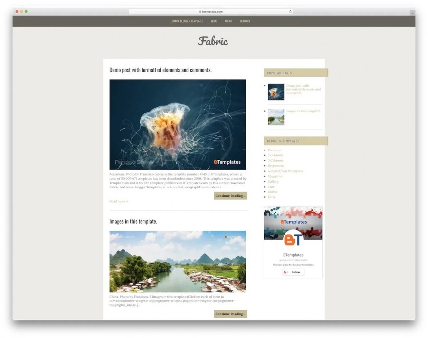 Fabric Free Wordpres Blogger Template Idea  Templates Blog Best Theme 2019 For 2018