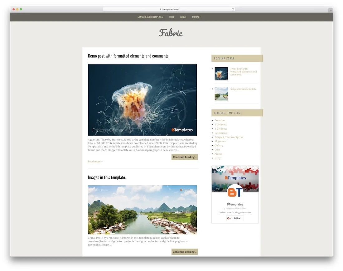 Fabric Free Wordpres Blogger Template Idea  Templates Best Theme For Blog 2018 2019 DownloadFull