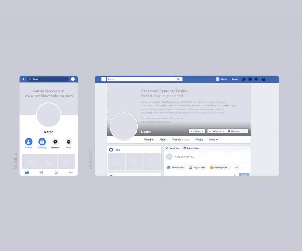Facebook Post Template Psd Free Desktop Mobile Mockup  Download DesignLarge