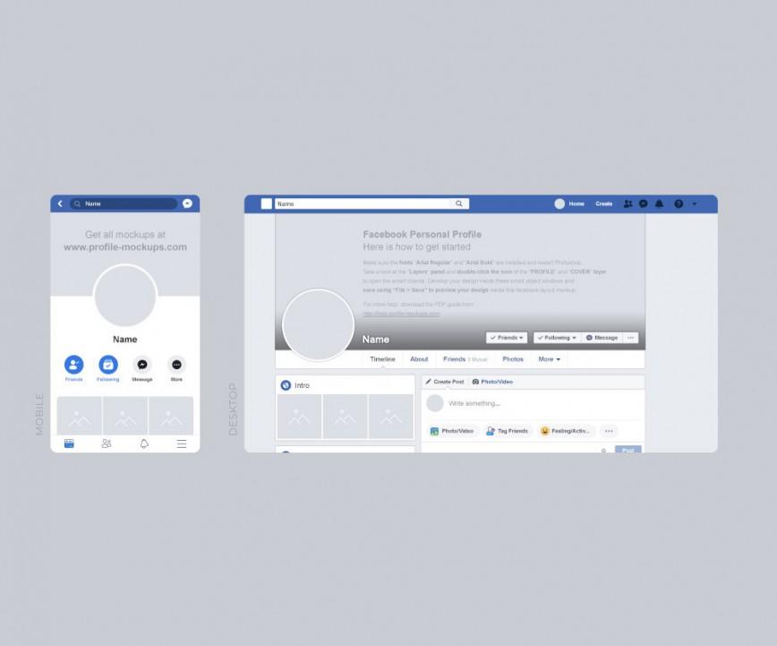 Facebook Post Template Psd Free Desktop Mobile Mockup  Photoshop Image Sponsored