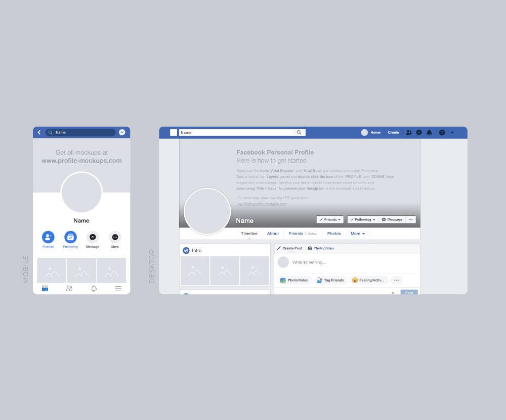 Facebook Post Template Psd Free Desktop Mobile Mockup  Download DesignFull
