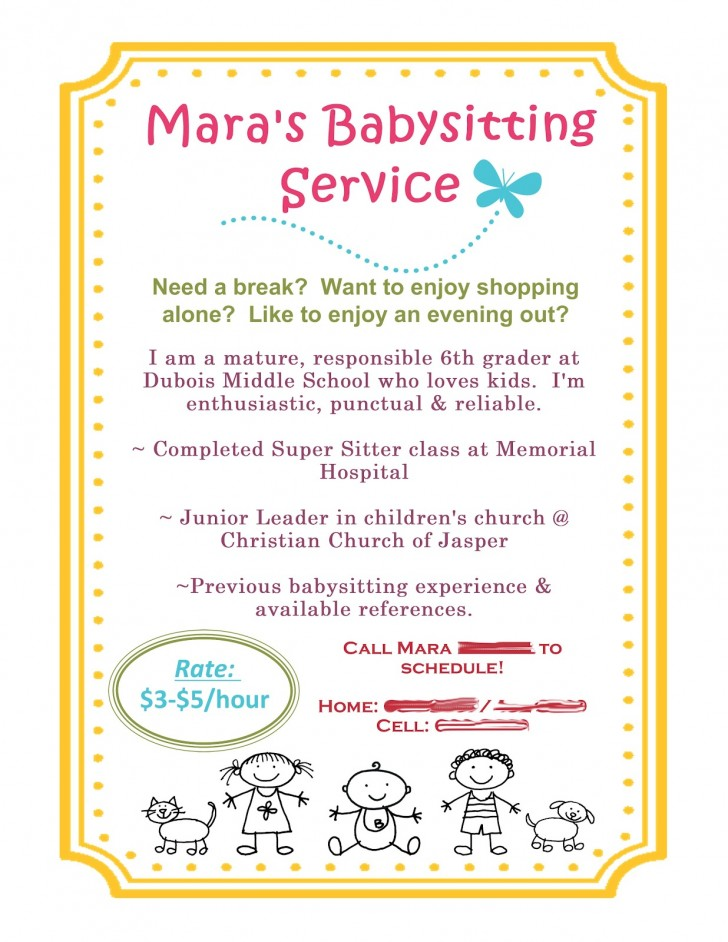 Free Babysitting Flyer Template Sample Idea  Online728