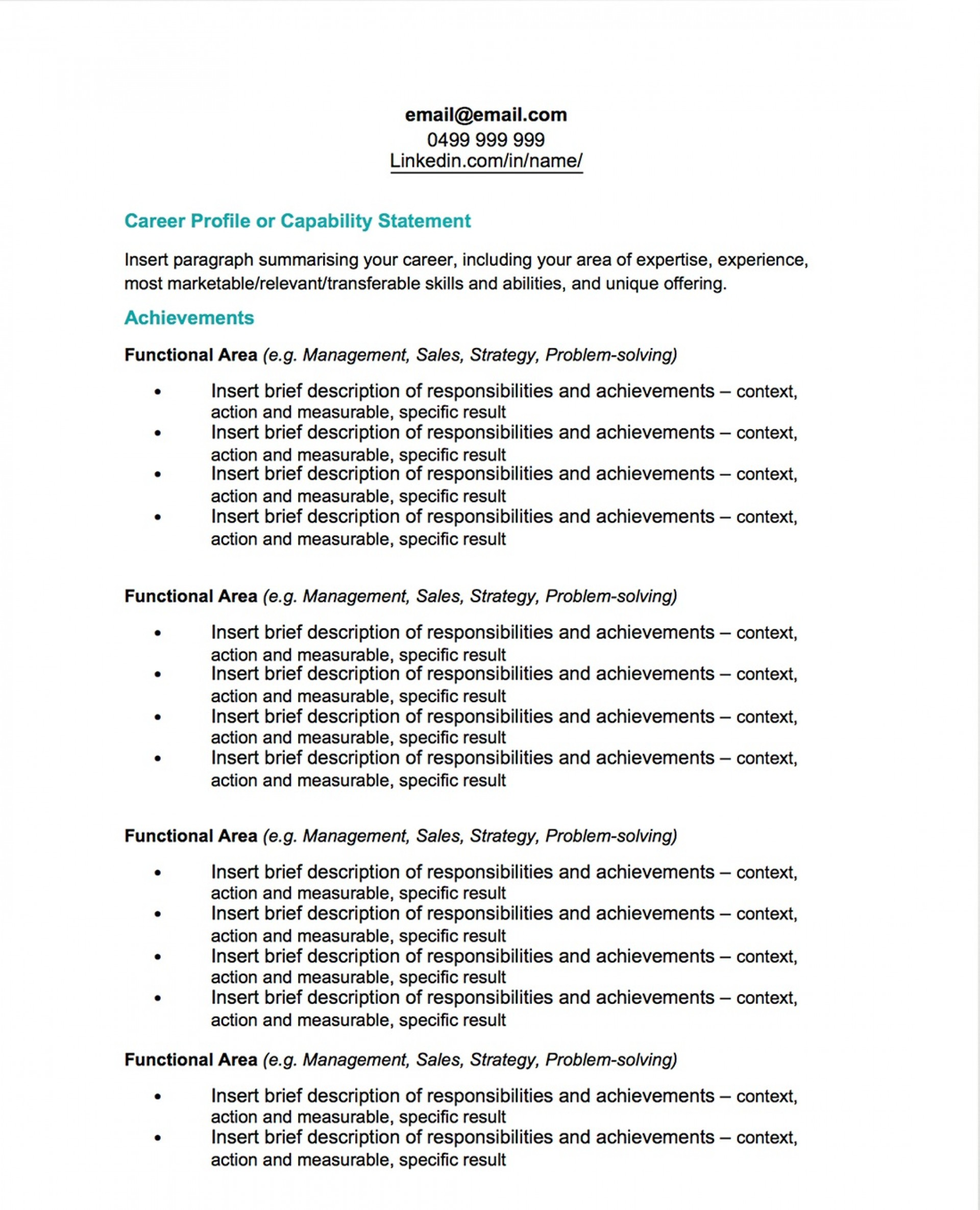 Functional Resume Template Free Download Sample Idea  Format Word1920