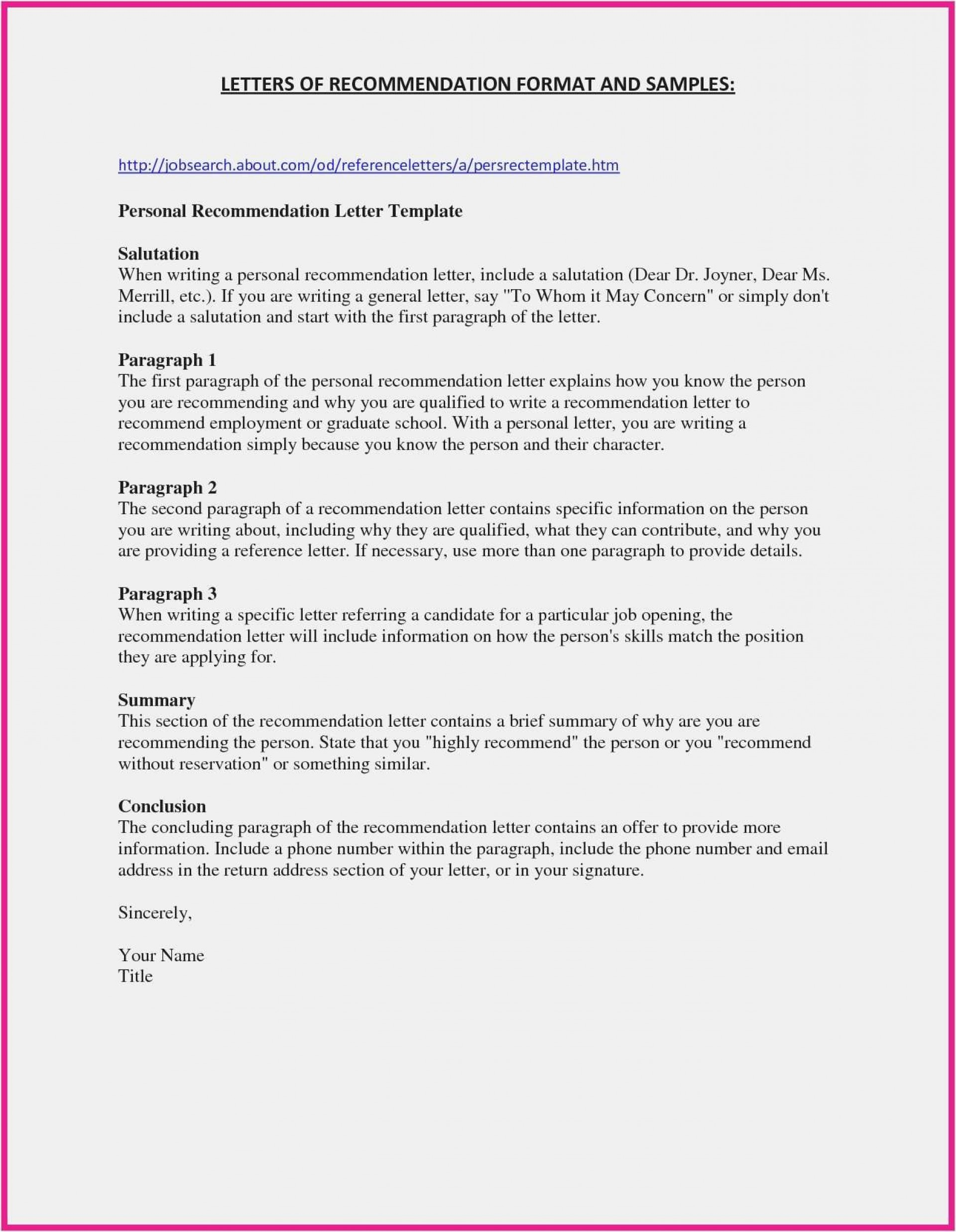 General Letter Of Recommendation Template Addictionary
