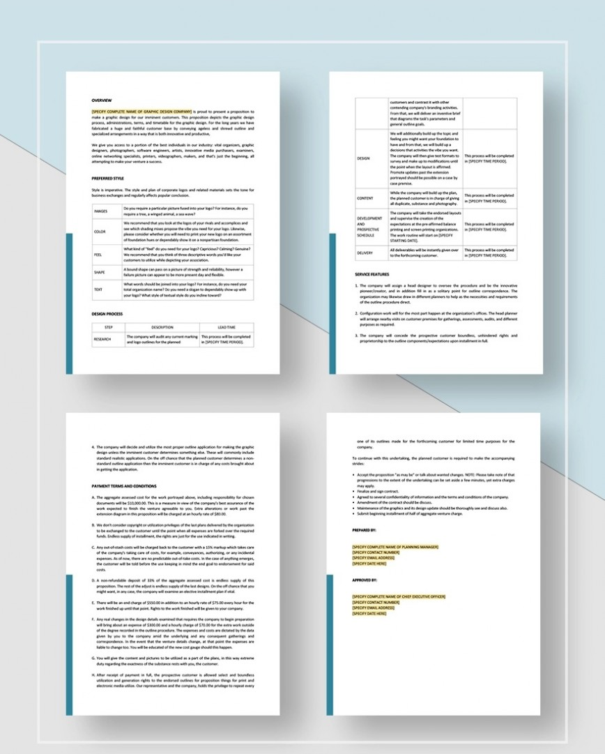Graphic Design Proposal Template Sample Complete Jpg  Example Free Doc