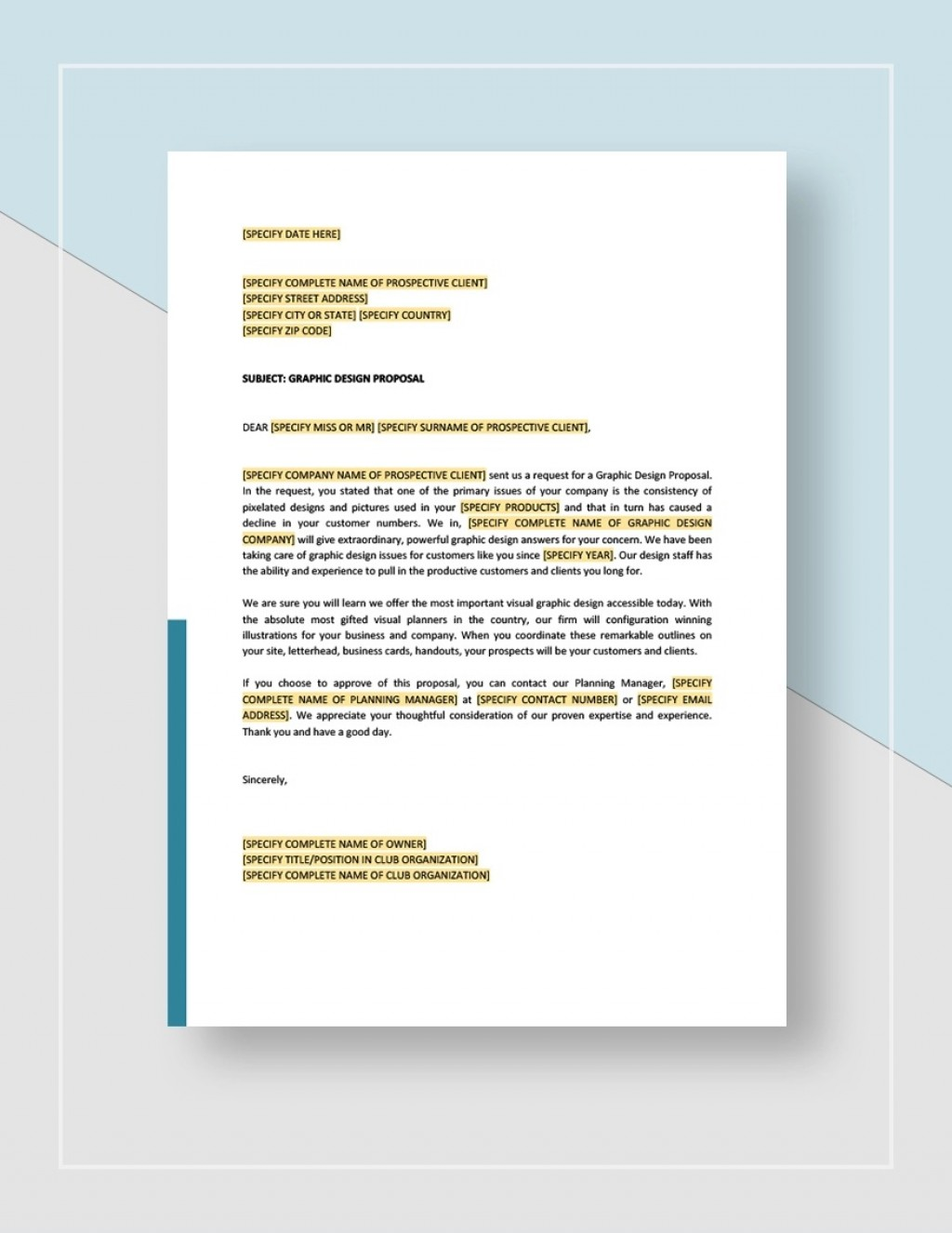 Graphic Design Proposal Template Sample Idea Jpg  Free Download IndesignLarge