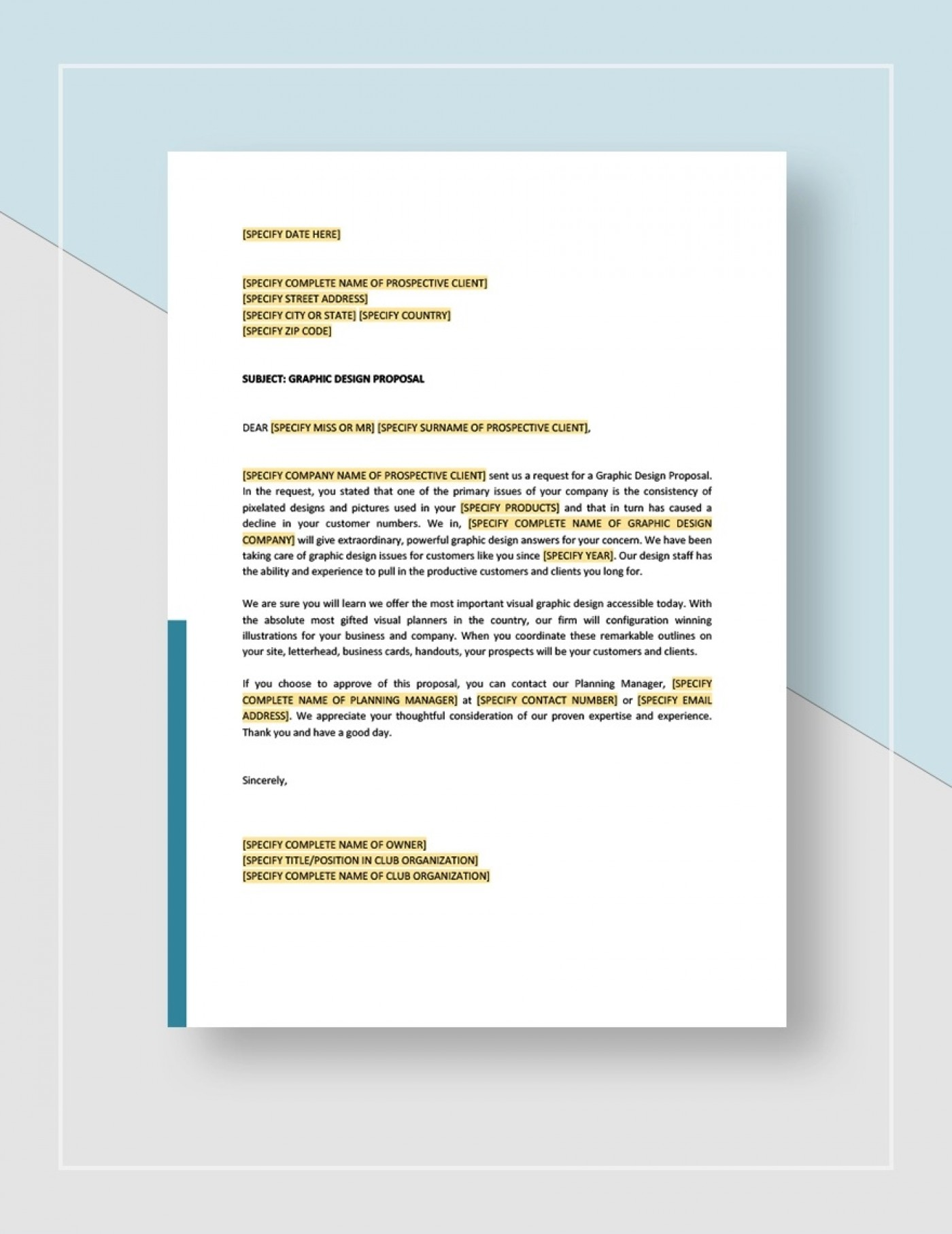 Graphic Design Proposal Template Sample Idea Jpg  Free Freelance1400