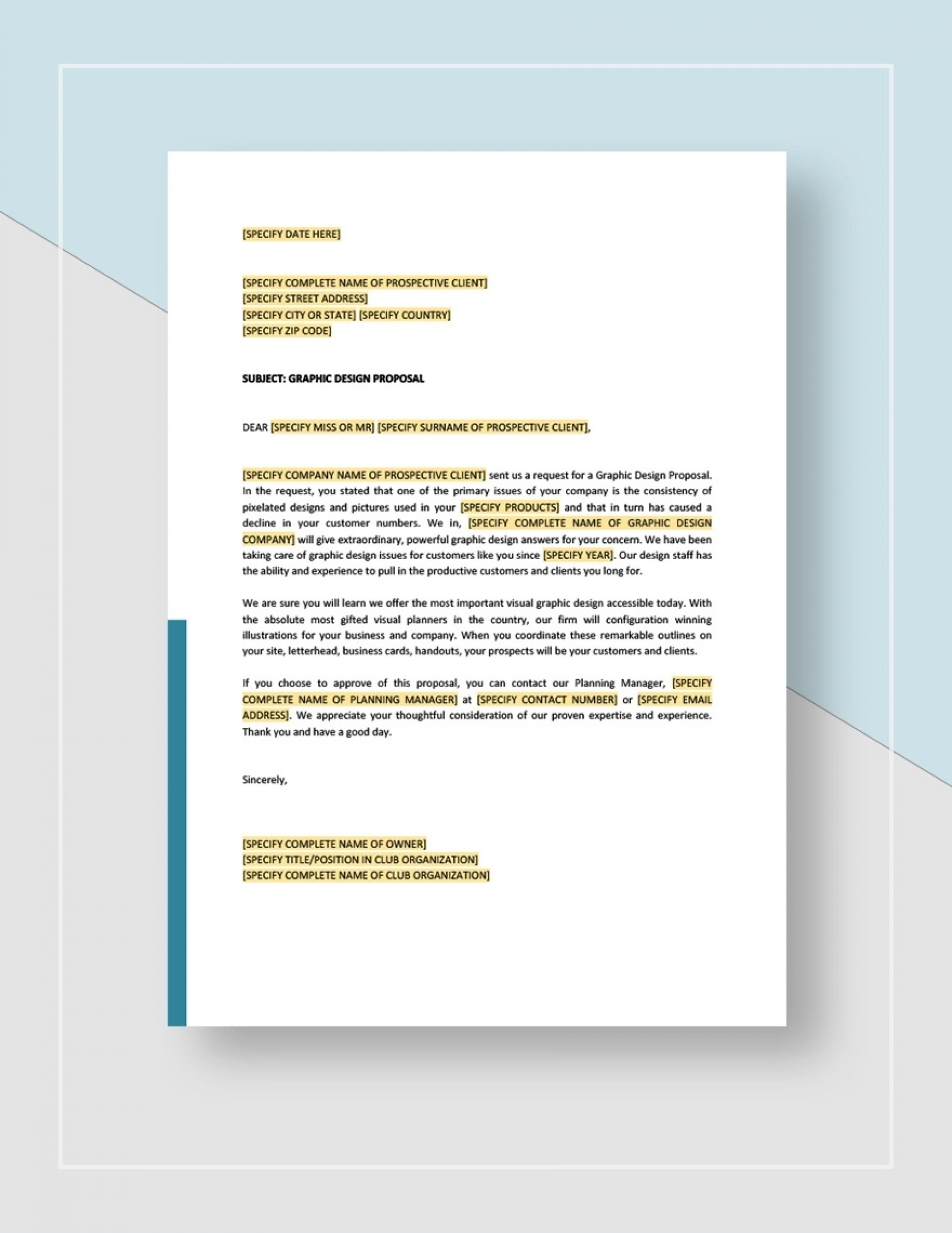 Graphic Design Proposal Template Sample Idea Jpg  Free Freelance1920