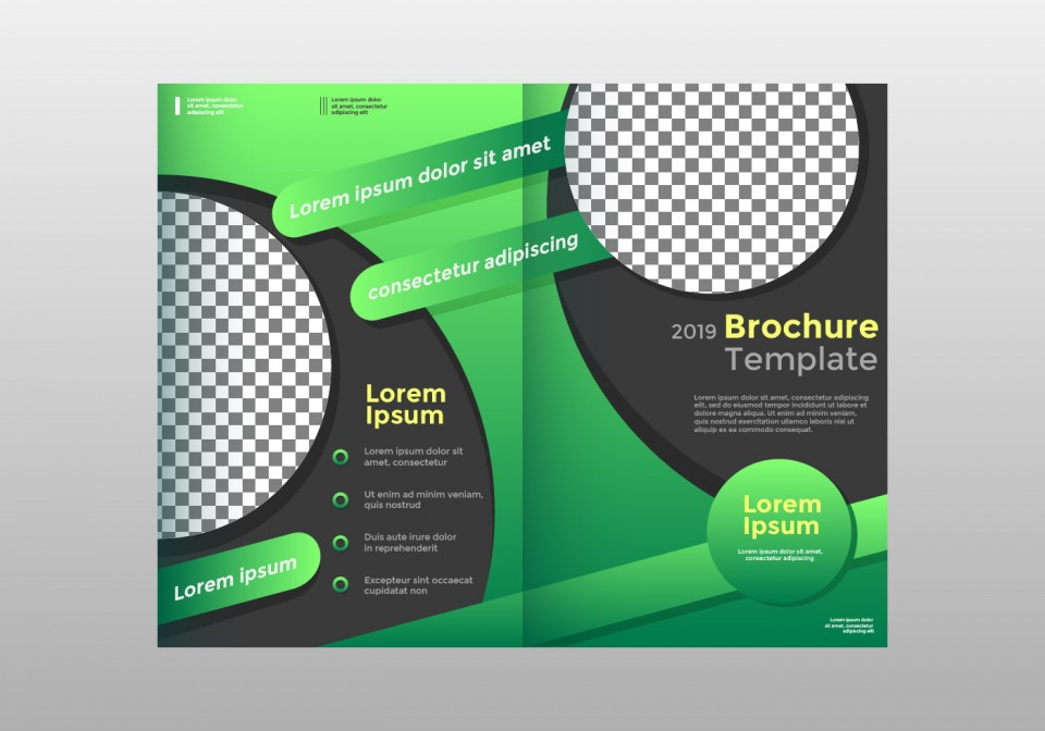 Half Sheet Flyer Template Green Fold Brochure Vector  Free Word Google Doc960