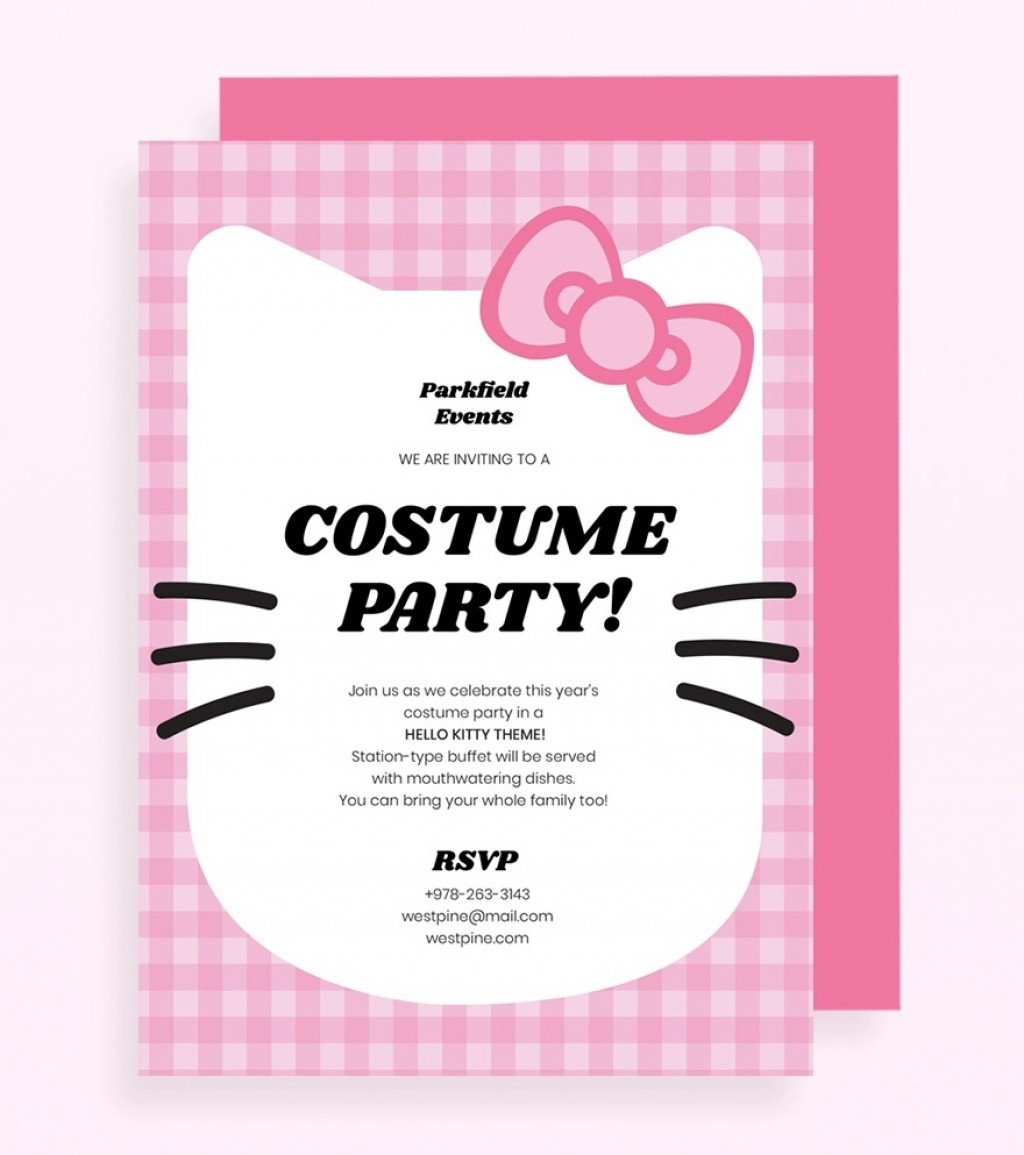 Hello Kitty Party Invitation Template Pink Jpg  Birthday Invite EditableLarge