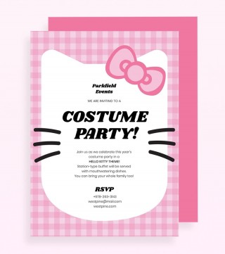 Hello Kitty Party Invitation Template Pink Jpg  Birthday Invite Editable320