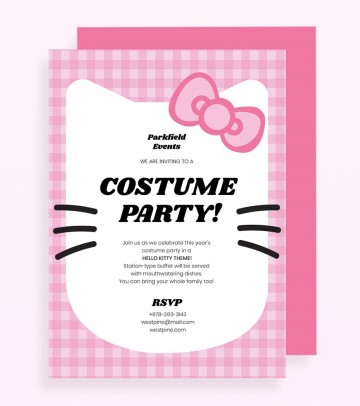 Hello Kitty Party Invitation Template Pink Jpg  Birthday Invite Editable360