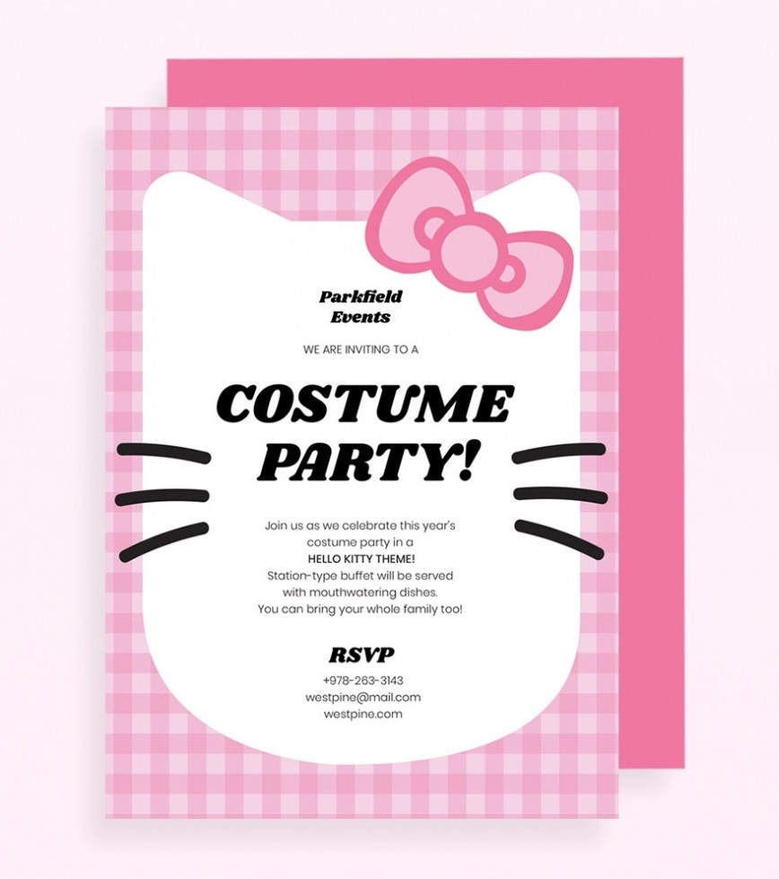 Hello Kitty Party Invitation Template Pink Jpg  Birthday Invite Editable868