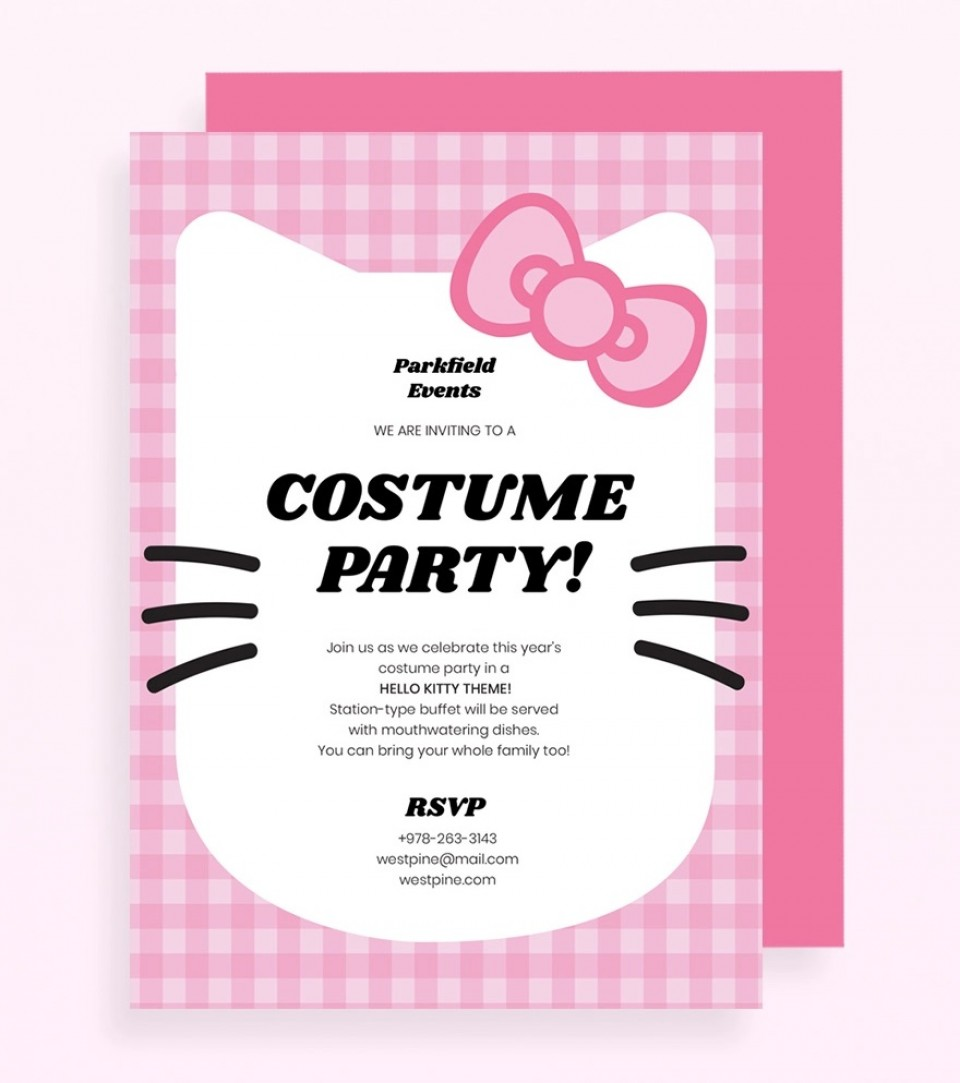 Hello Kitty Party Invitation Template Pink Jpg  Birthday Invite Editable960