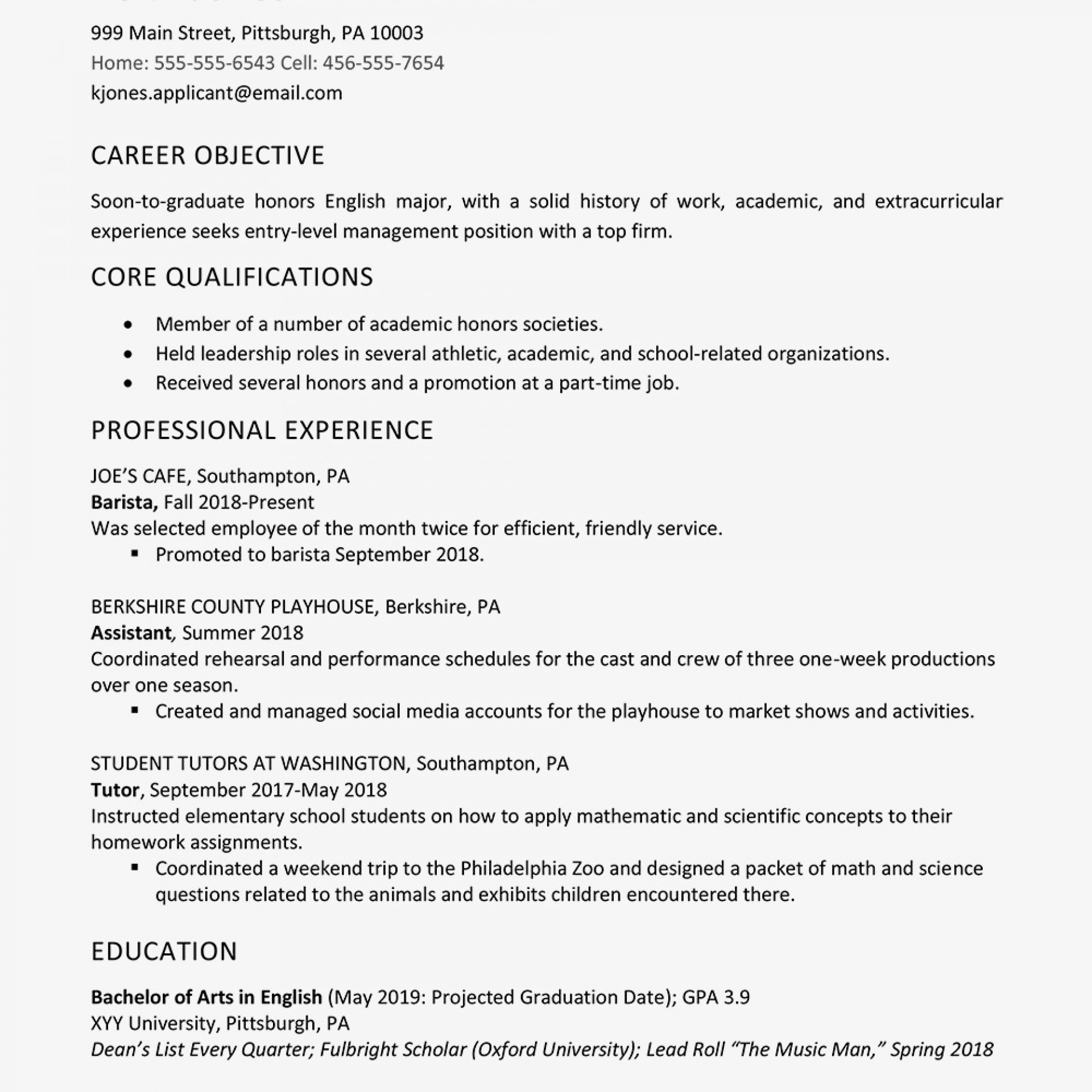 Examples Of Resumes For High School Students With No Experience لم