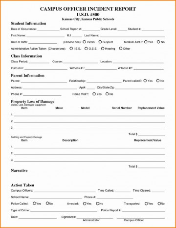 Incident Report Form Template Word Campu Officer  Downloadable Free360