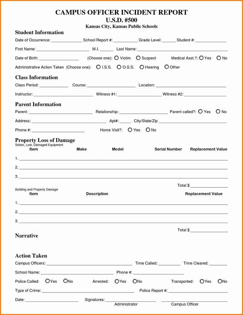 Incident Report Form Template Word Campu Officer  Downloadable FreeFull