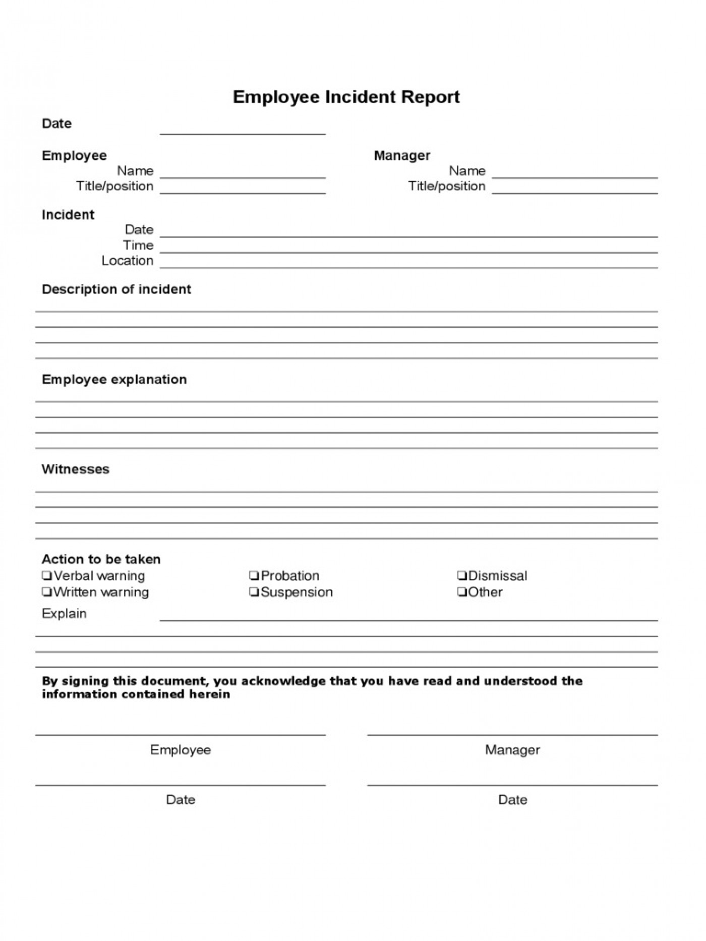 Incident Report Form Template Word Employee  Downloadable Free1400