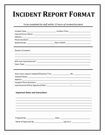 Incident Report Form Template Word M  Downloadable Free360