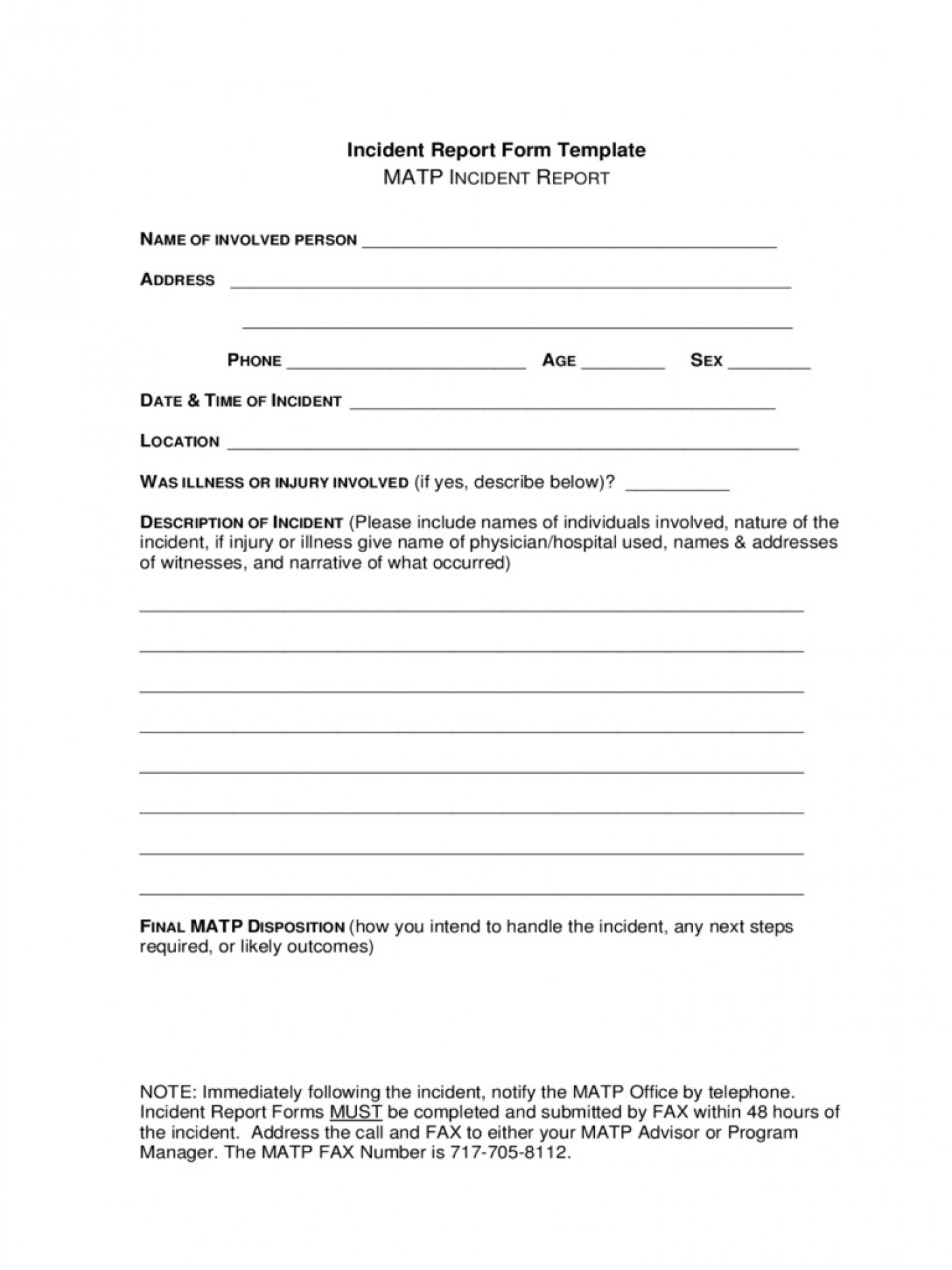 Incident Report Form Template Word New  Downloadable Free1400