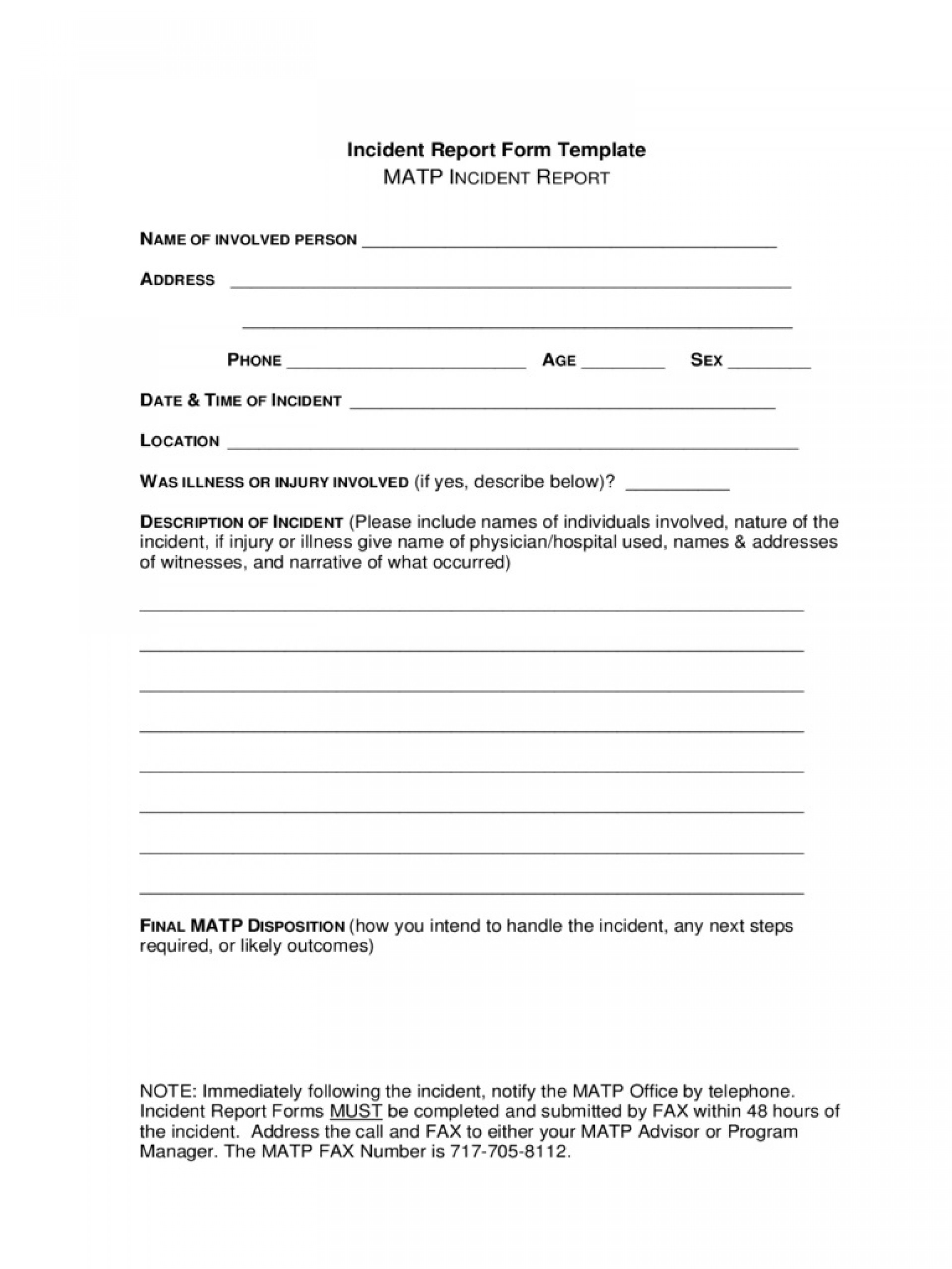 Incident Report Form Template Word New  Downloadable Free1920