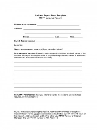 Incident Report Form Template Word New  Downloadable Free320