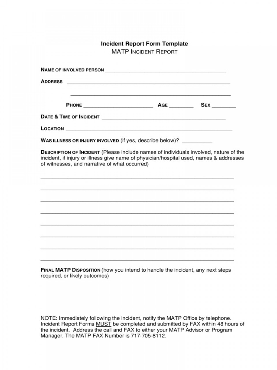 Incident Report Form Template Word New  Downloadable Free960