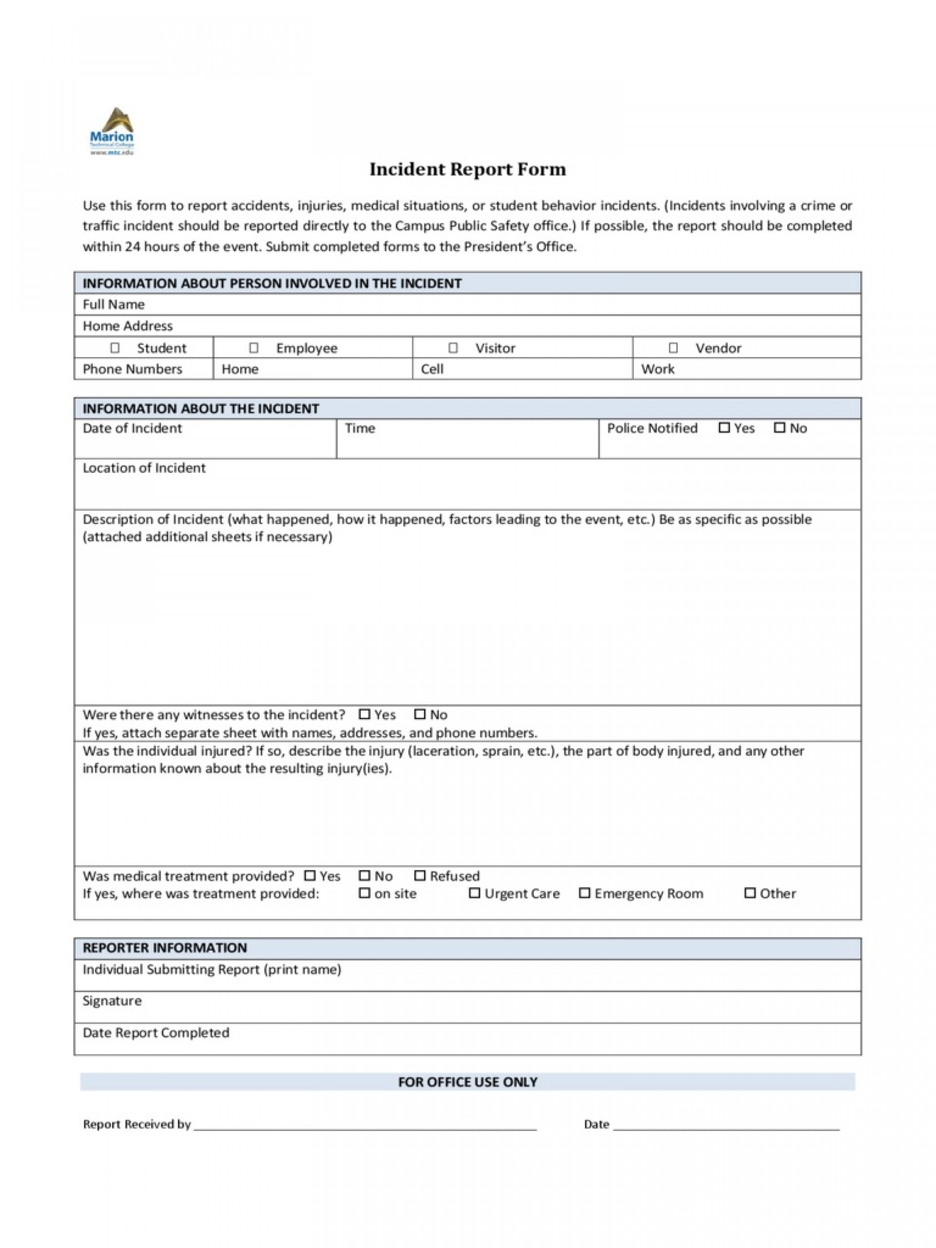 Incident Report Form Template Word Policeincident Marion Technical College  Downloadable Free1920