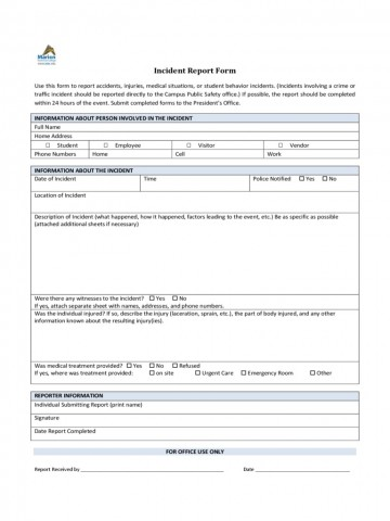 Incident Report Form Template Word Policeincident Marion Technical College  Downloadable Free360