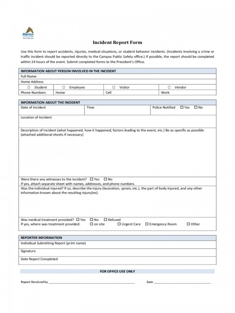 Incident Report Form Template Word Policeincident Marion Technical College  Downloadable Free480