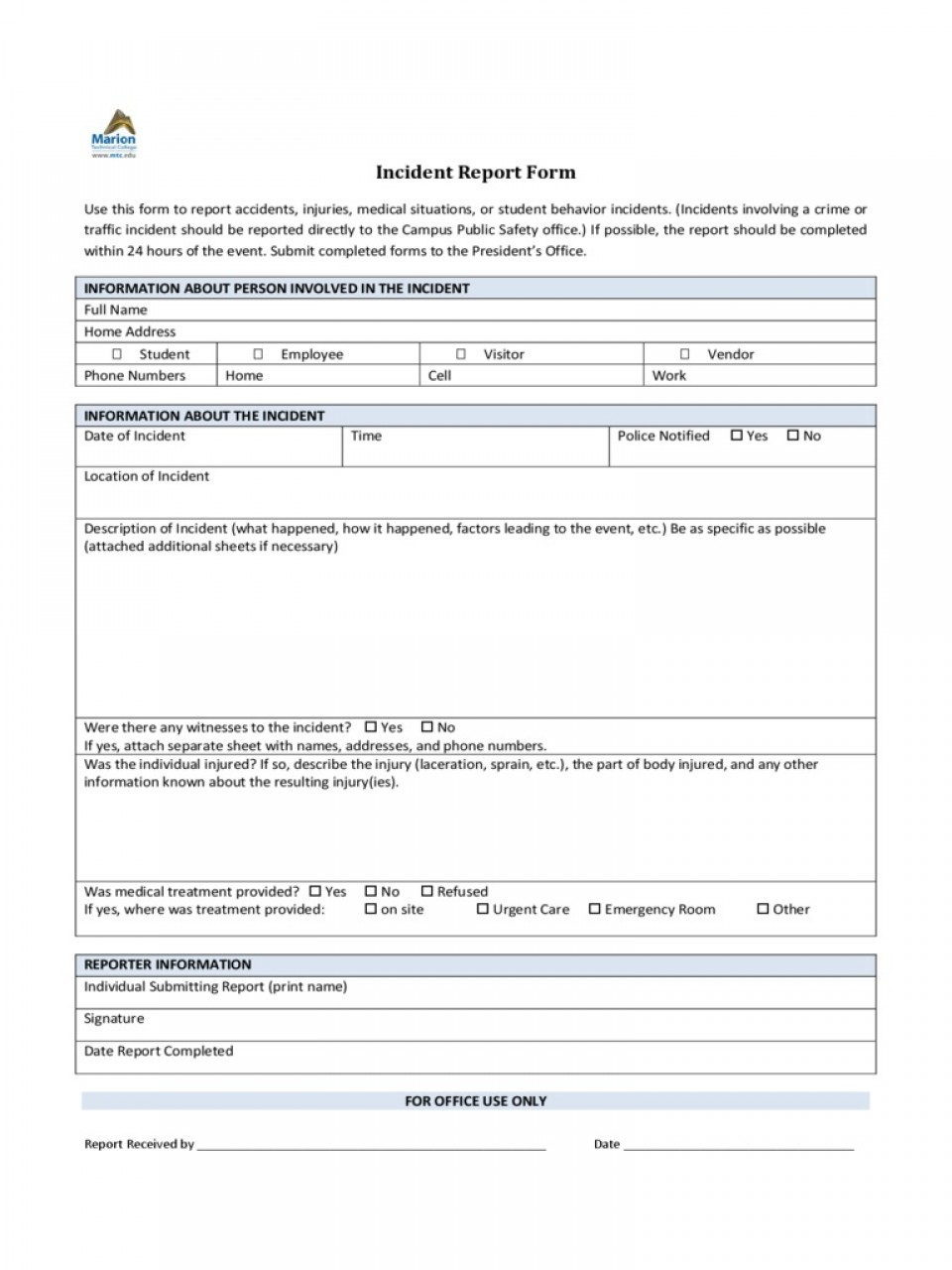 Incident Report Form Template Word Policeincident Marion Technical College  Downloadable Free960